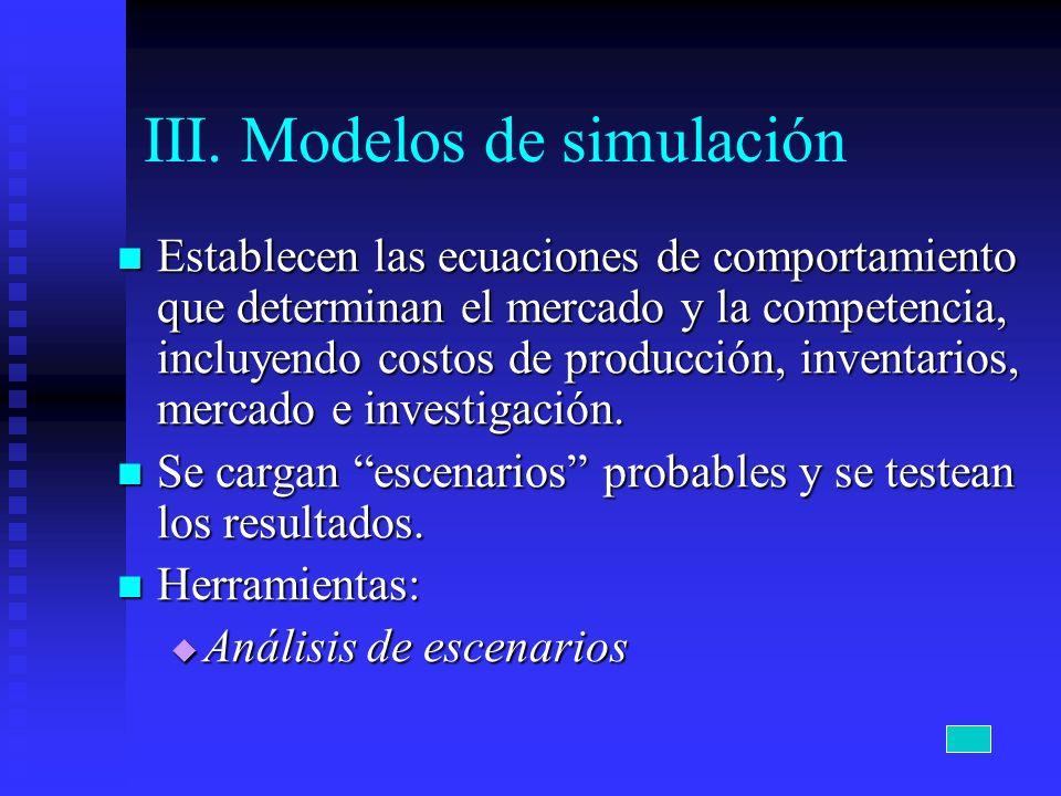 III. Modelos de simulación