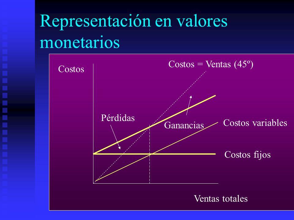 Representación en valores monetarios