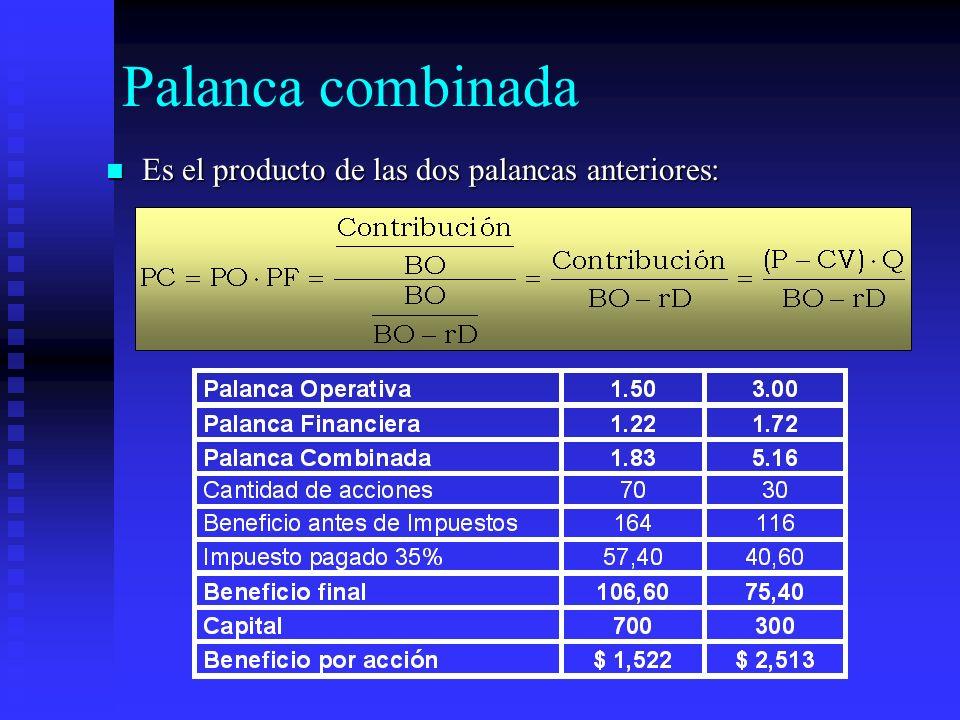 Palanca combinada Es el producto de las dos palancas anteriores: