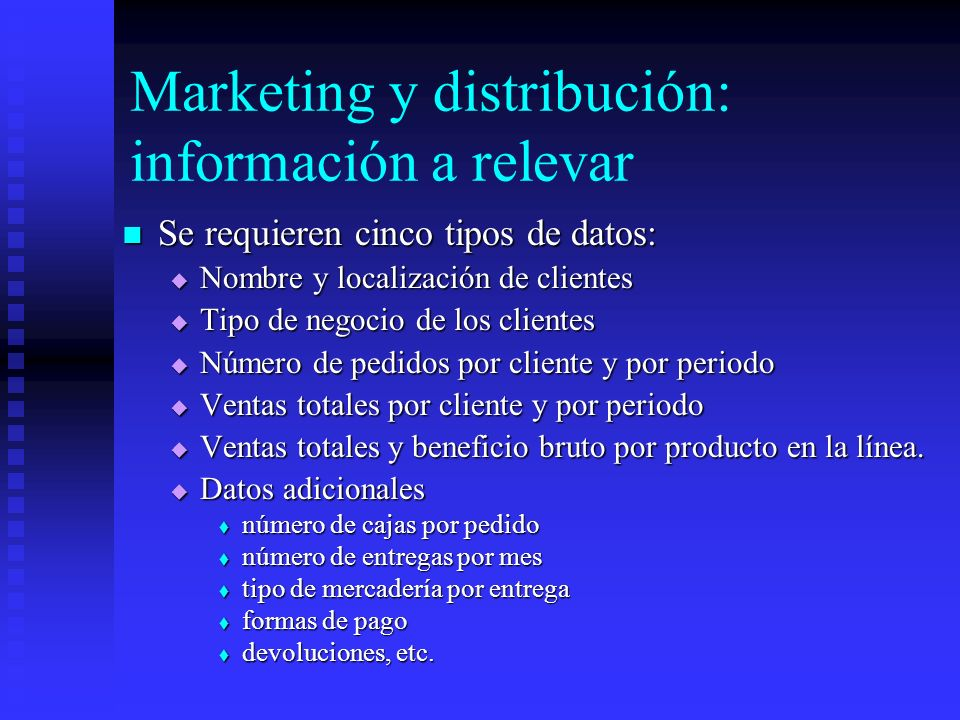 Marketing y distribución: información a relevar