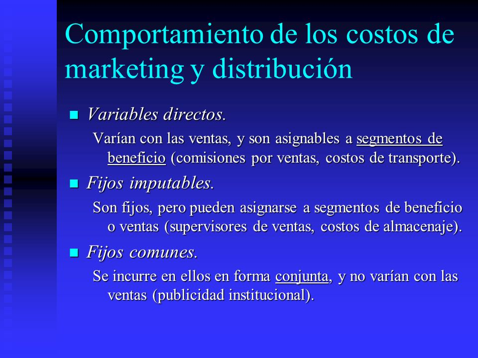 Comportamiento de los costos de marketing y distribución