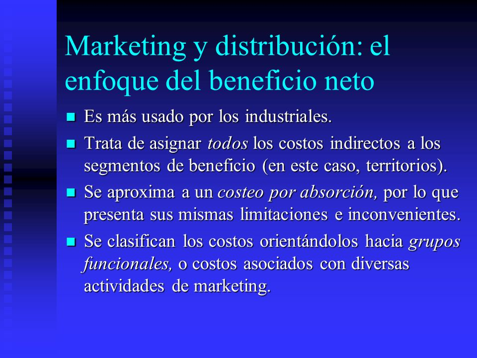 Marketing y distribución: el enfoque del beneficio neto