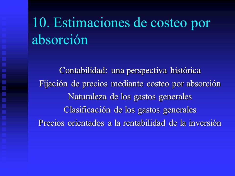 10. Estimaciones de costeo por absorción