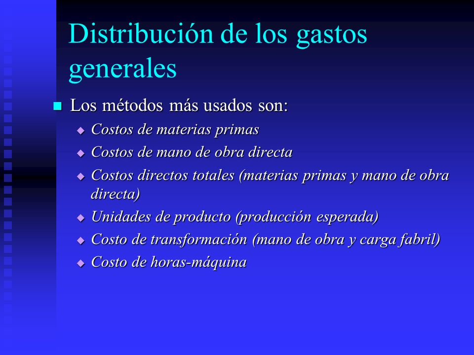 Distribución de los gastos generales