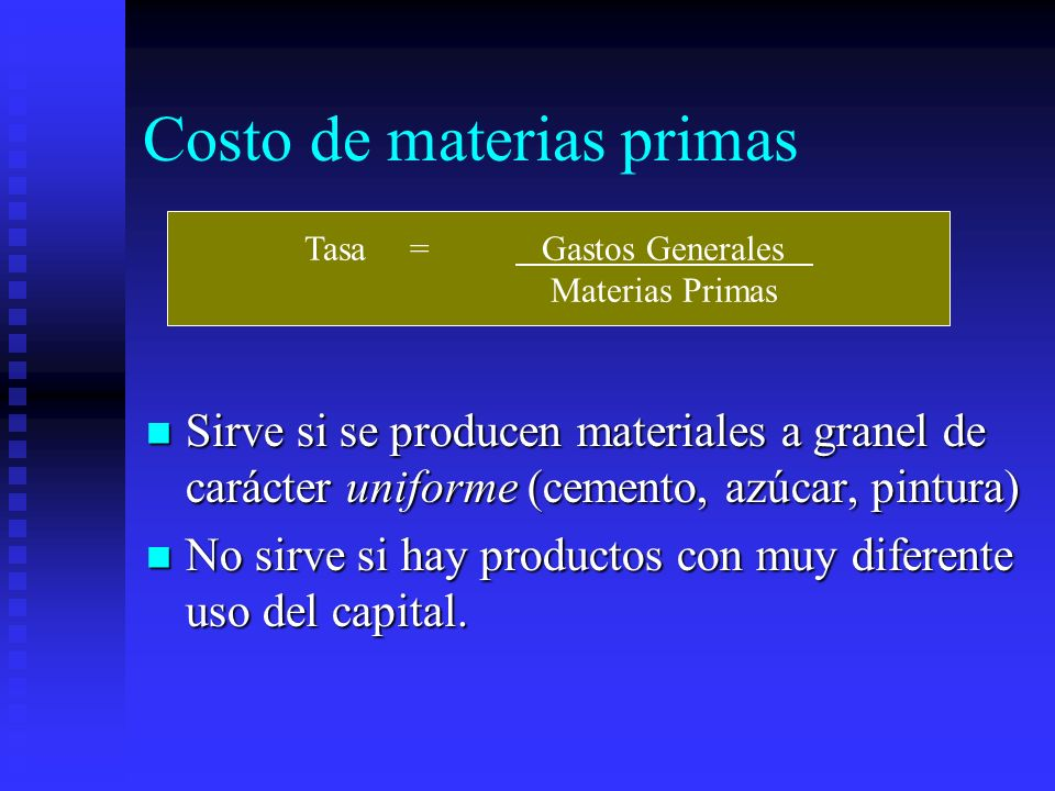 Costo de materias primas