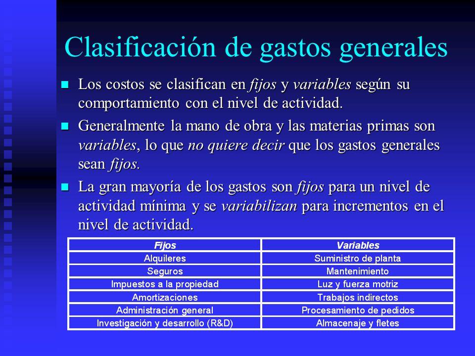 Clasificación de gastos generales