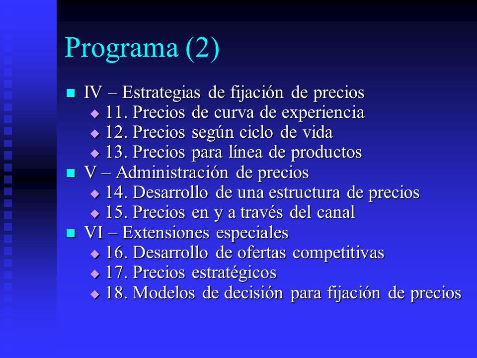 Programa (2) IV – Estrategias de fijación de precios