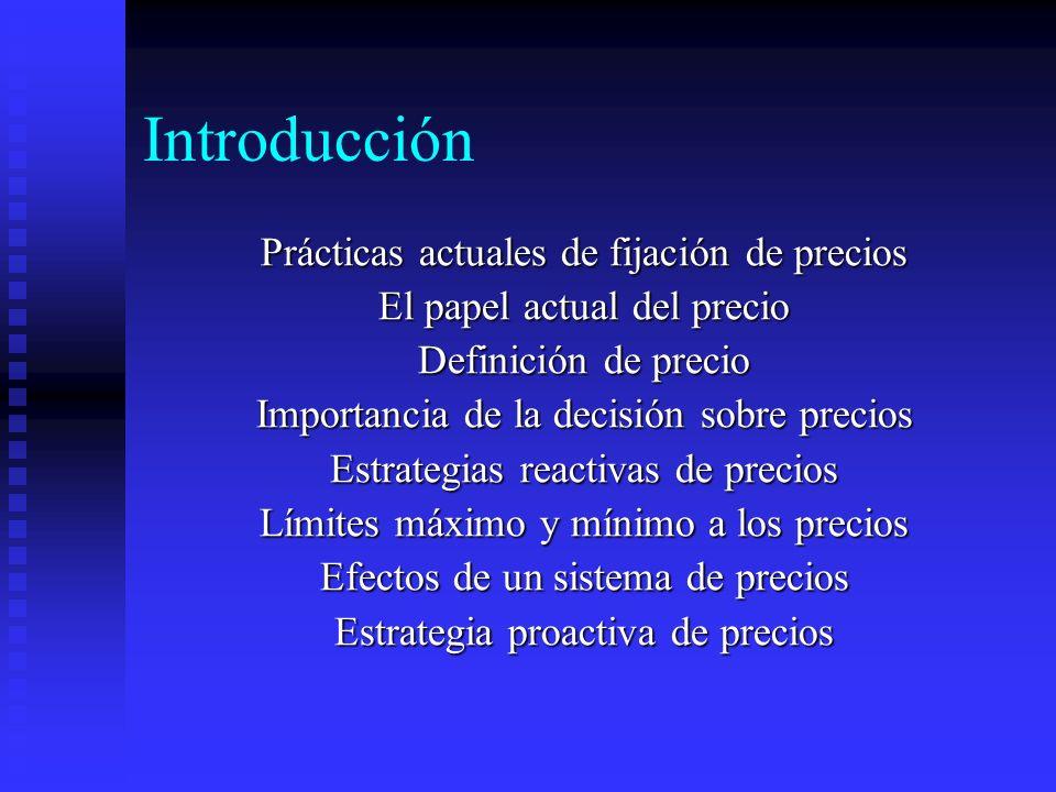 Introducción Prácticas actuales de fijación de precios