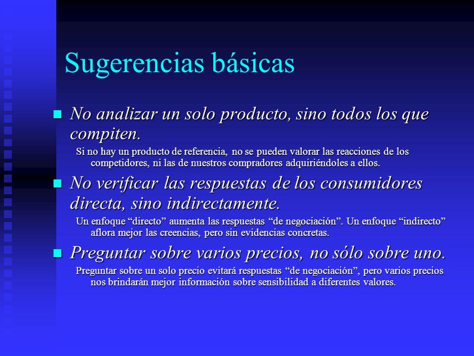 Sugerencias básicas No analizar un solo producto, sino todos los que compiten.