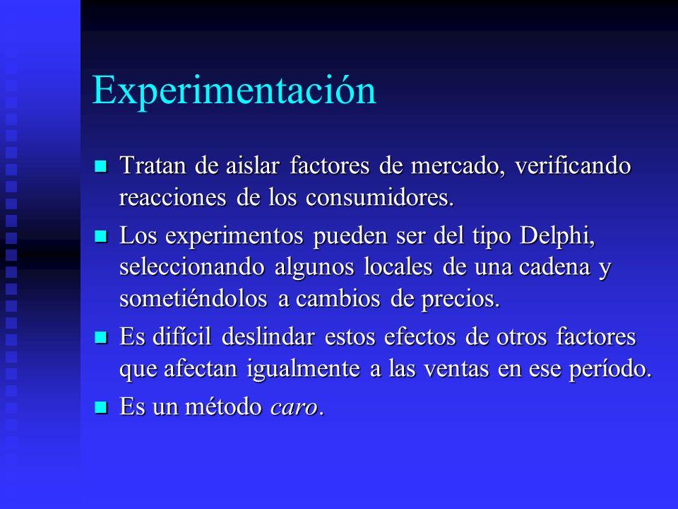 Experimentación Tratan de aislar factores de mercado, verificando reacciones de los consumidores.