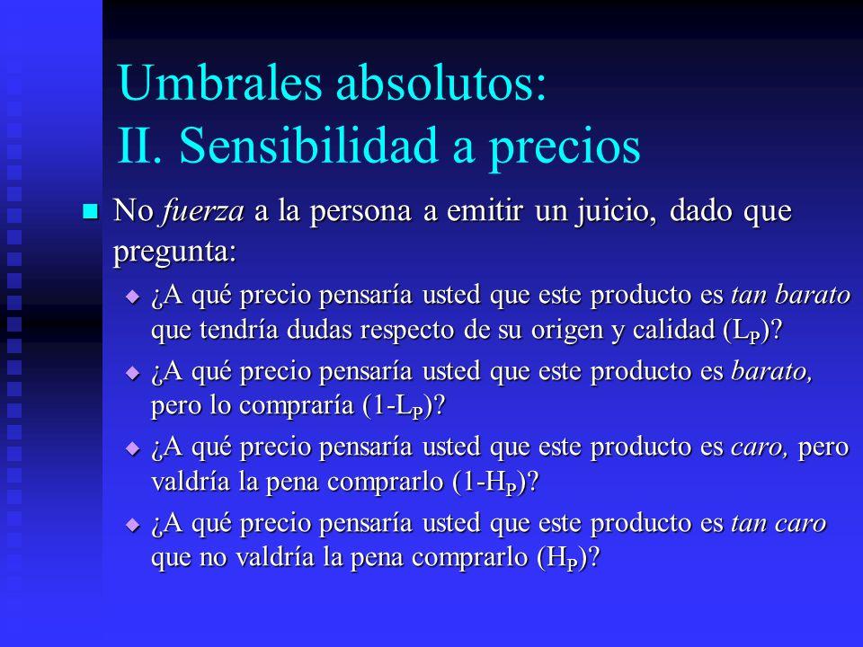 Umbrales absolutos: II. Sensibilidad a precios