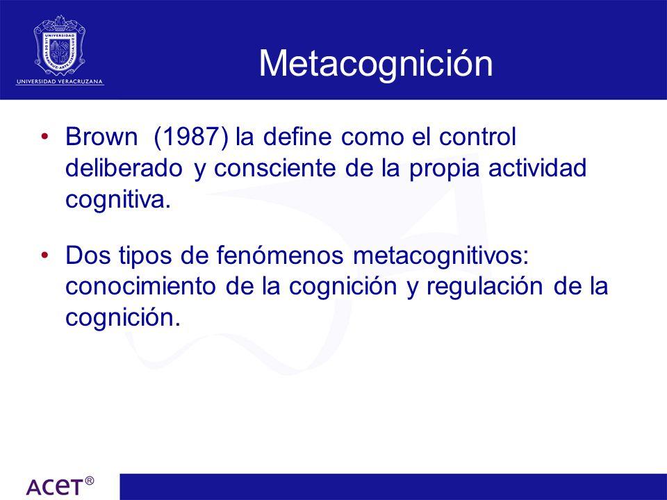 Metacognición Brown (1987) la define como el control deliberado y consciente de la propia actividad cognitiva.