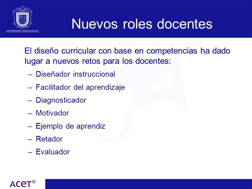 Nuevos roles docentes El diseño curricular con base en competencias ha dado lugar a nuevos retos para los docentes: