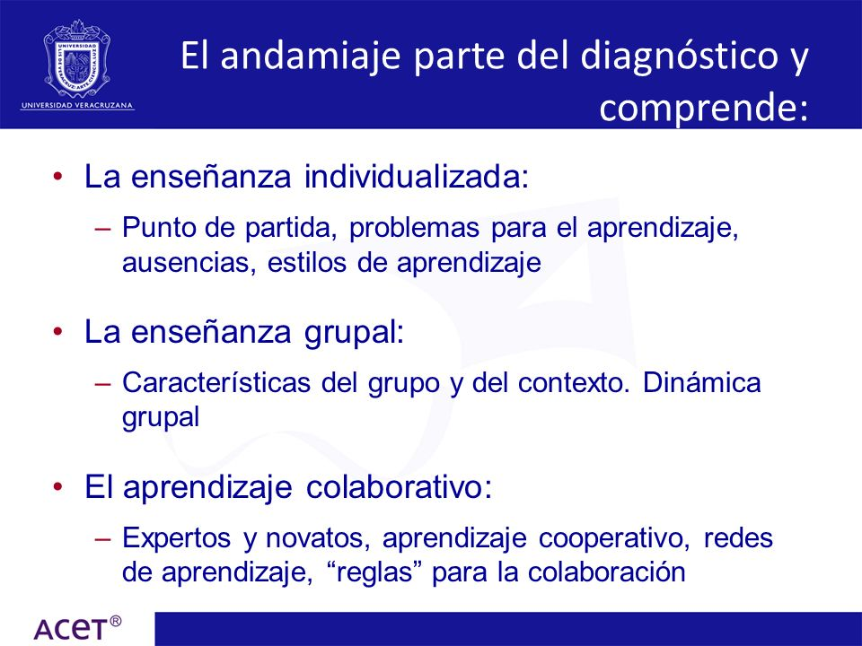 El andamiaje parte del diagnóstico y comprende: