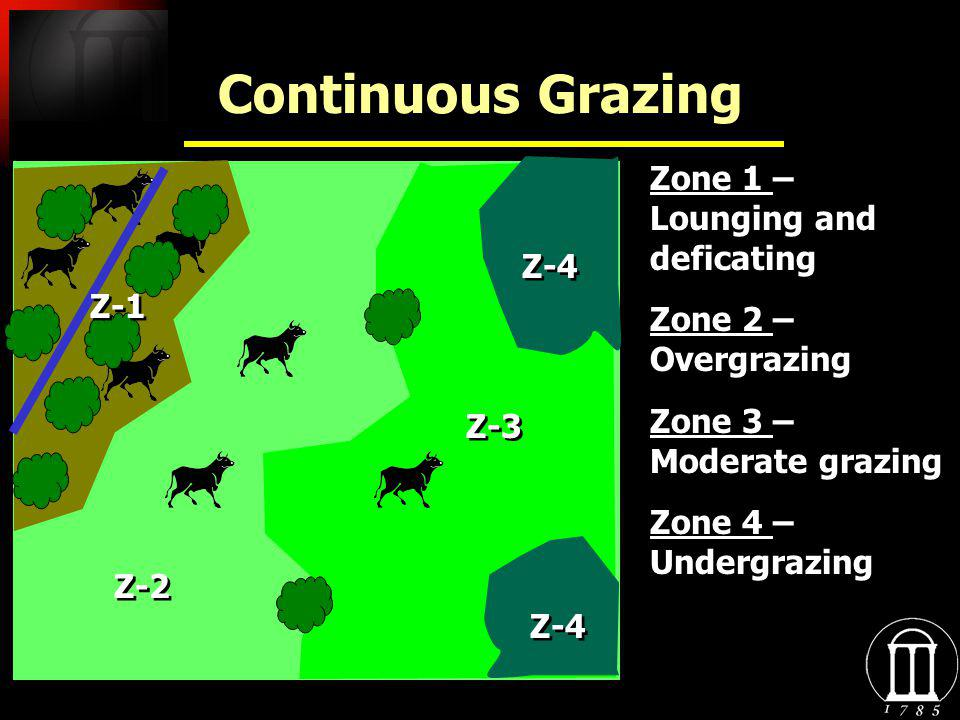 Continuous Grazing Zone 1 – Lounging and deficating