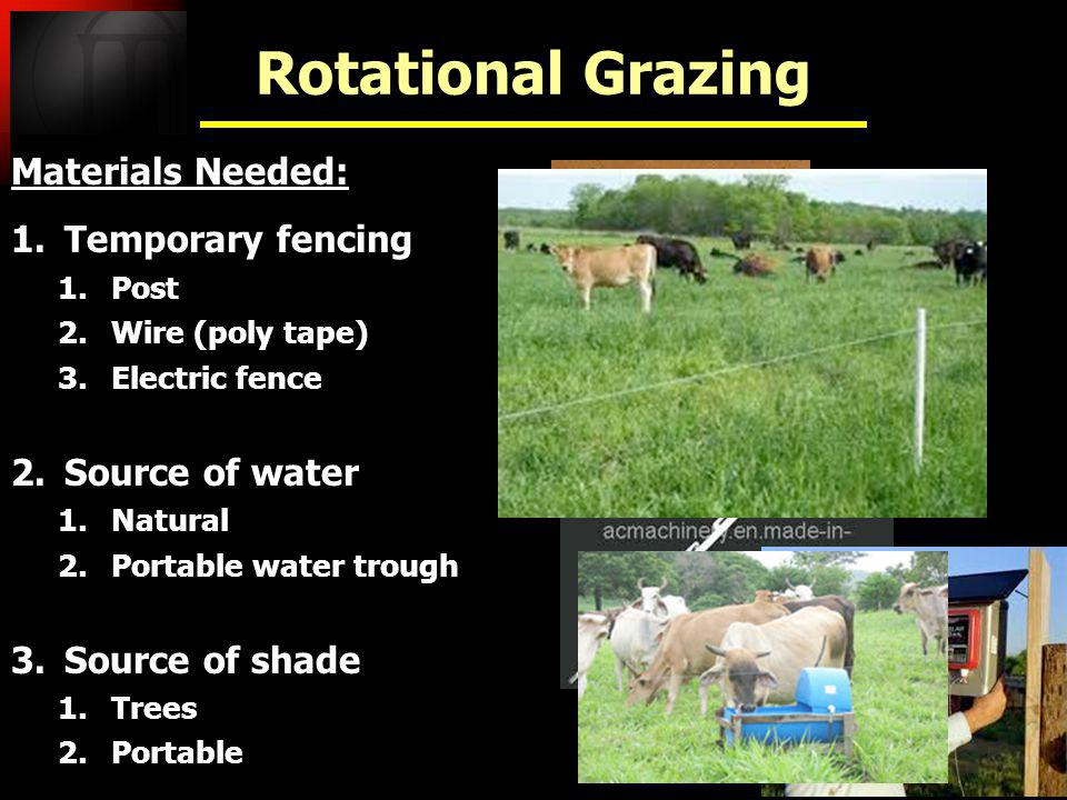 Rotational Grazing Materials Needed: Temporary fencing Source of water