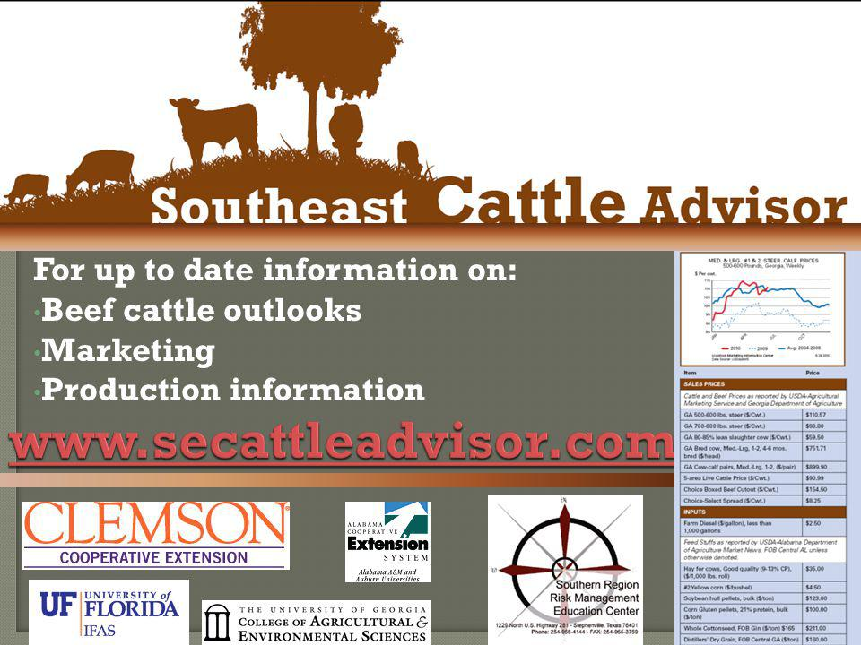 www.secattleadvisor.com For up to date information on: