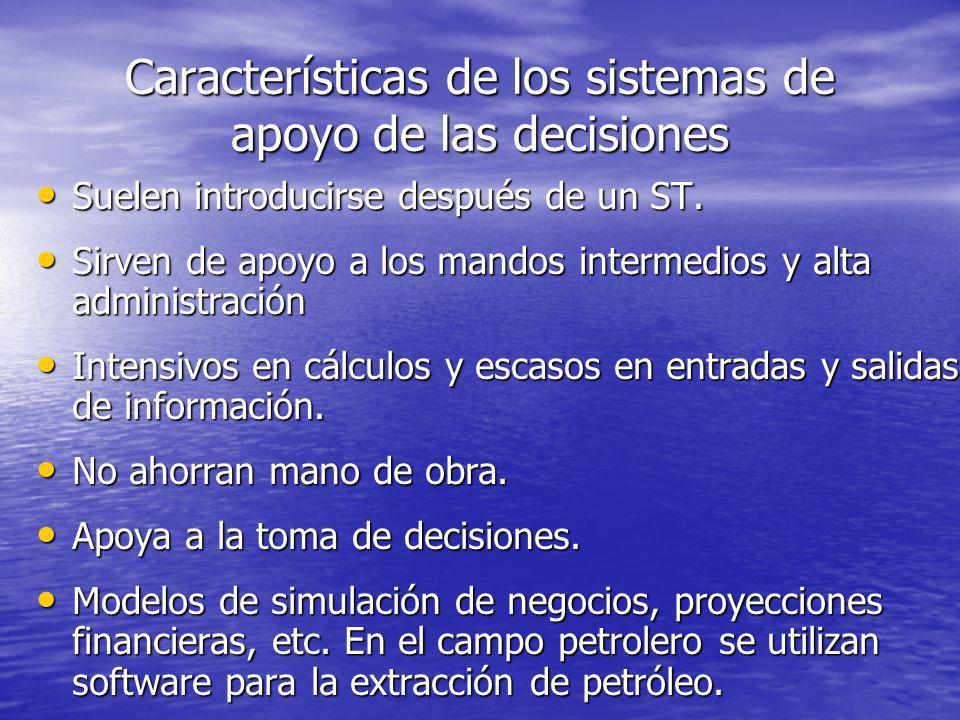 Características de los sistemas de apoyo de las decisiones