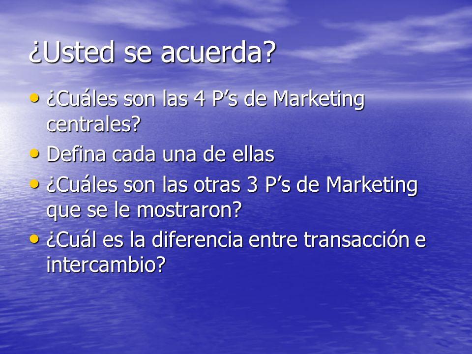 ¿Usted se acuerda ¿Cuáles son las 4 P's de Marketing centrales