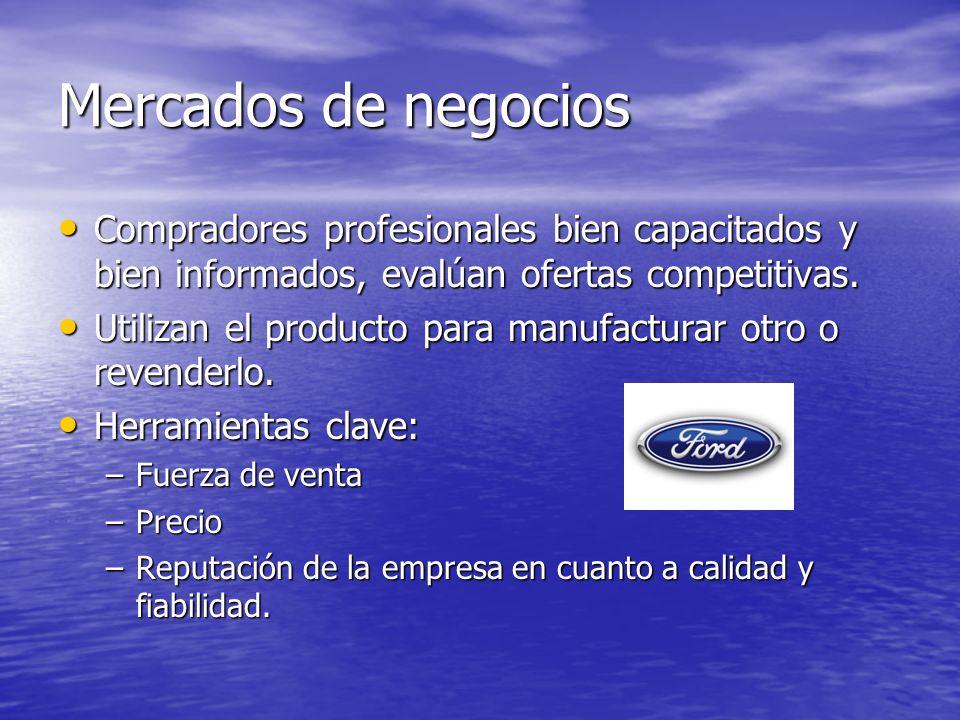 Mercados de negociosCompradores profesionales bien capacitados y bien informados, evalúan ofertas competitivas.