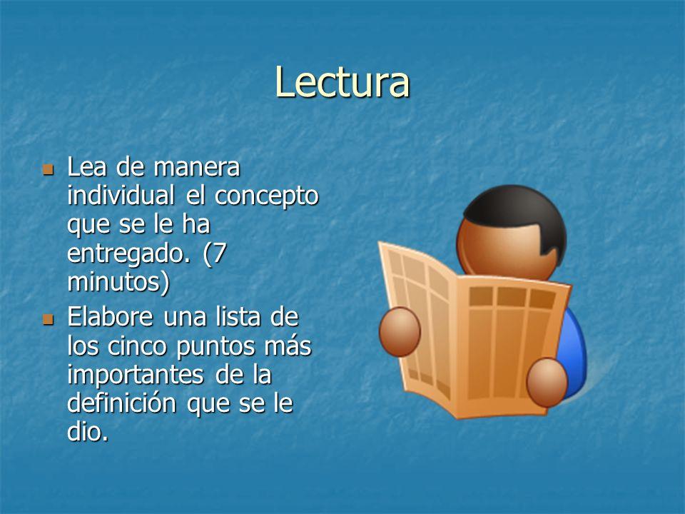 Lectura Lea de manera individual el concepto que se le ha entregado. (7 minutos)