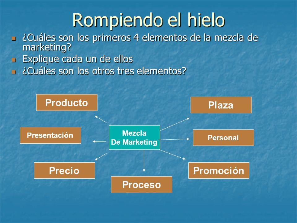 Rompiendo el hielo ¿Cuáles son los primeros 4 elementos de la mezcla de marketing Explique cada un de ellos.