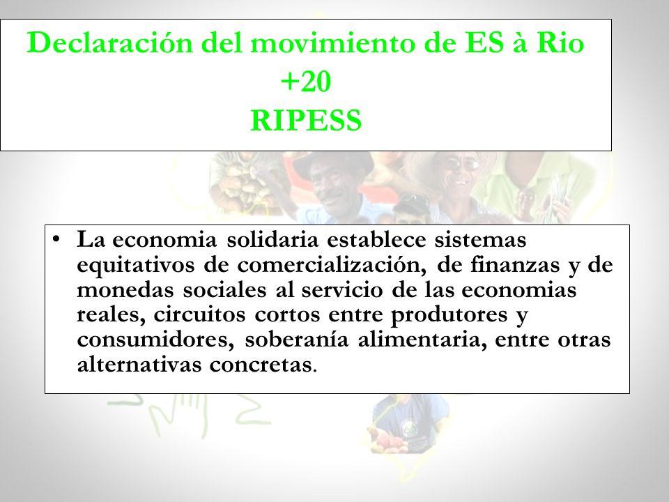 Declaración del movimiento de ES à Rio +20 RIPESS