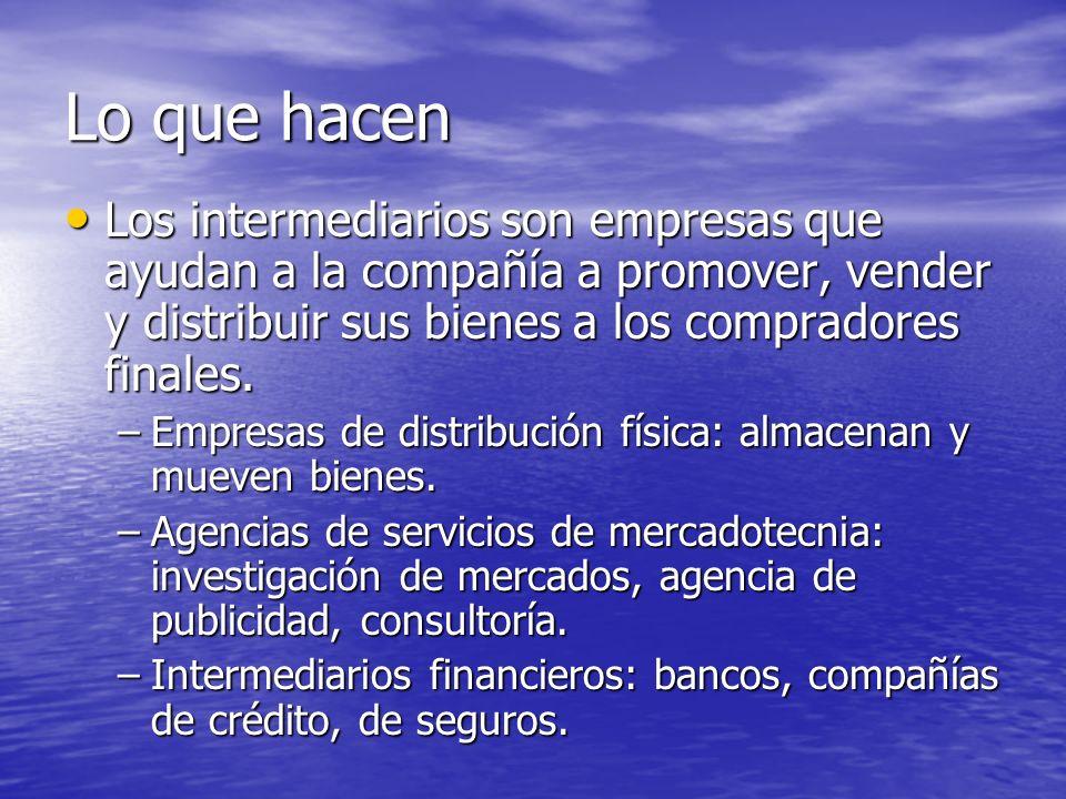 Lo que hacen Los intermediarios son empresas que ayudan a la compañía a promover, vender y distribuir sus bienes a los compradores finales.