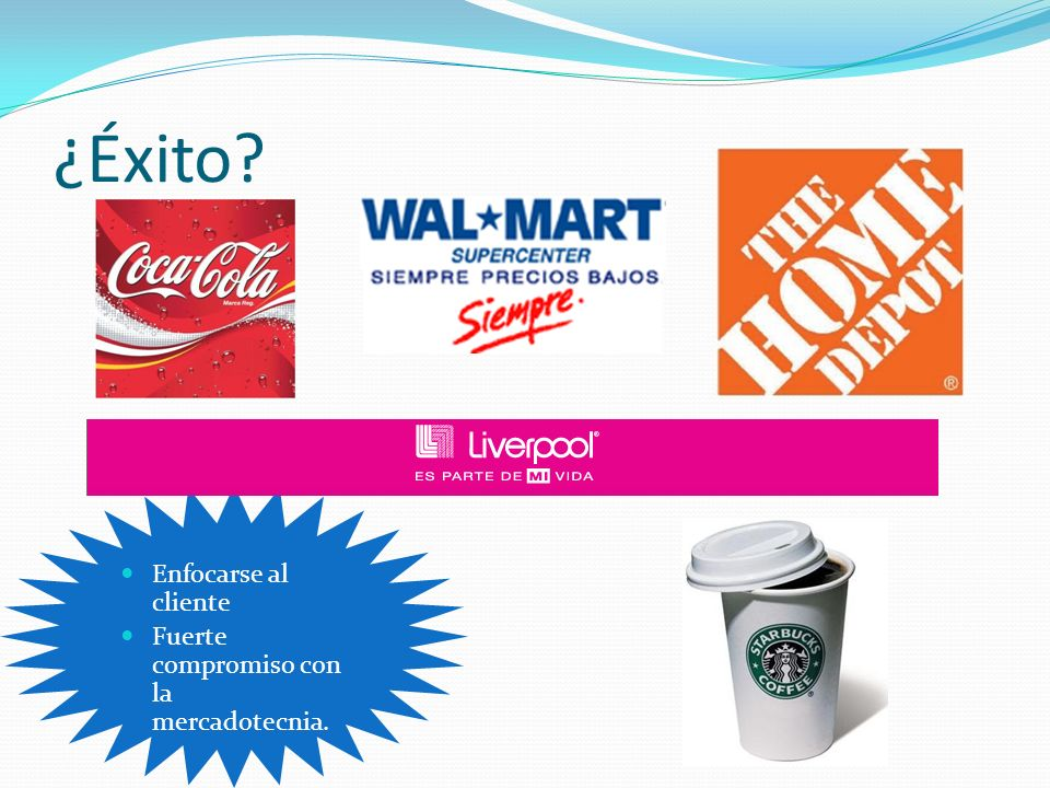 ¿Éxito Enfocarse al cliente Fuerte compromiso con la mercadotecnia.