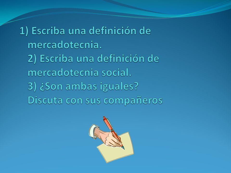 1) Escriba una definición de mercadotecnia