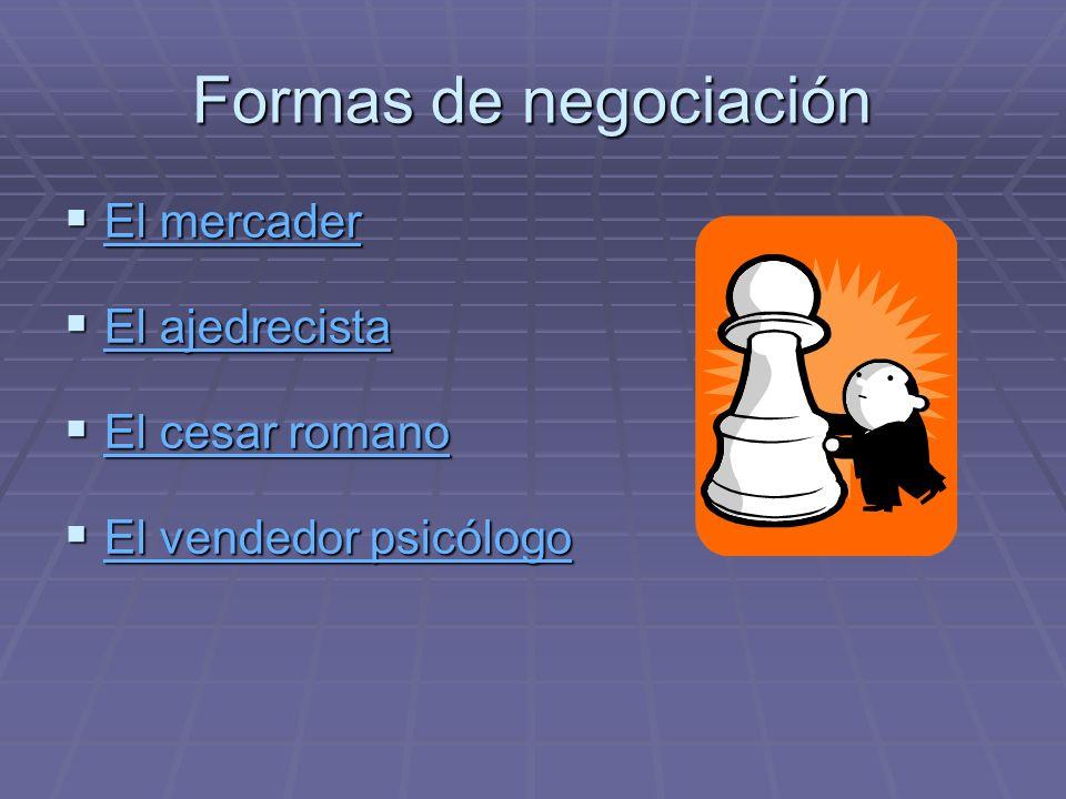Formas de negociación El mercader El ajedrecista El cesar romano