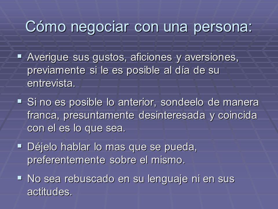 Cómo negociar con una persona: