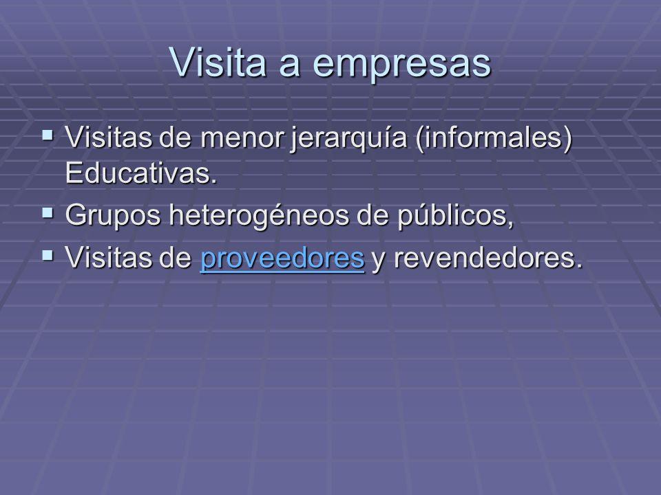 Visita a empresas Visitas de menor jerarquía (informales) Educativas.