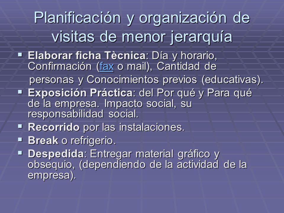 Planificación y organización de visitas de menor jerarquía