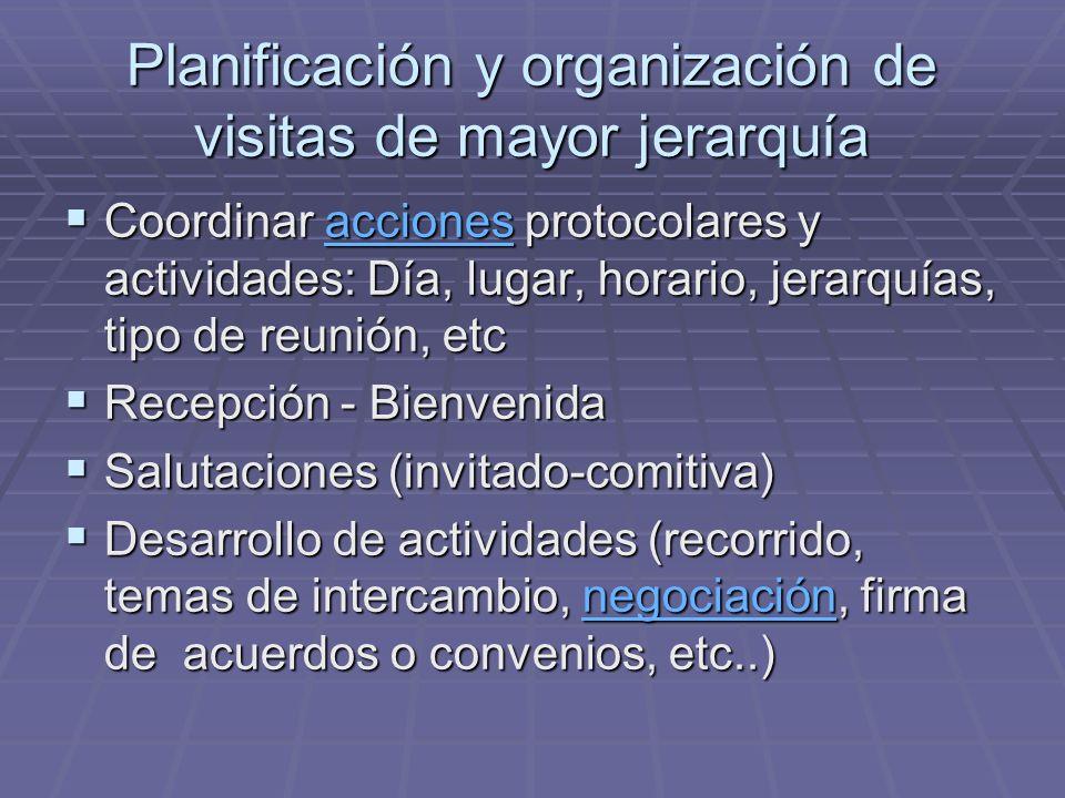 Planificación y organización de visitas de mayor jerarquía