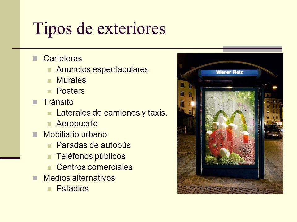 Tipos de exteriores Carteleras Anuncios espectaculares Murales Posters