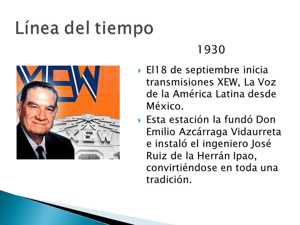 Línea del tiempo1930. El18 de septiembre inicia transmisiones XEW, La Voz de la América Latina desde México.