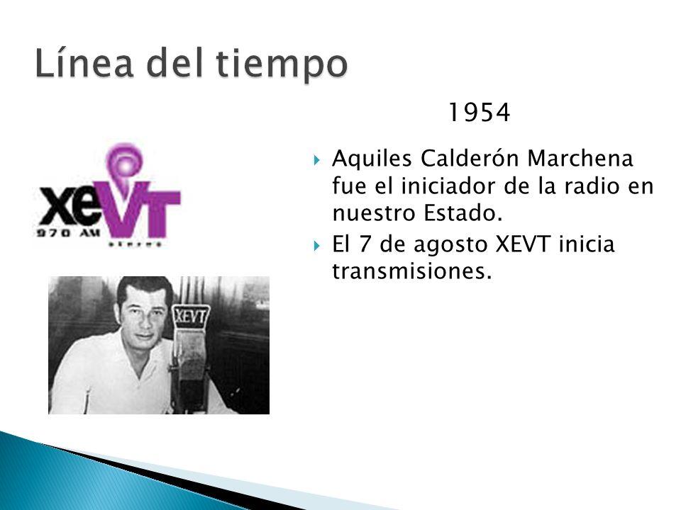 Línea del tiempo1954.Aquiles Calderón Marchena fue el iniciador de la radio en nuestro Estado.