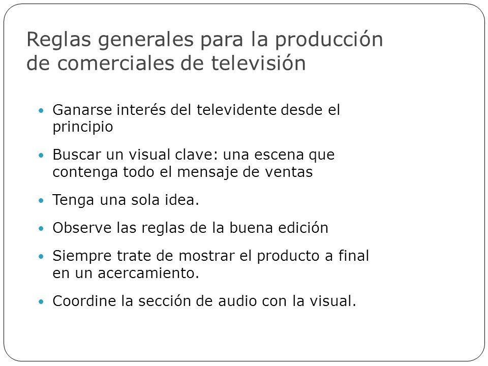 Reglas generales para la producción de comerciales de televisión