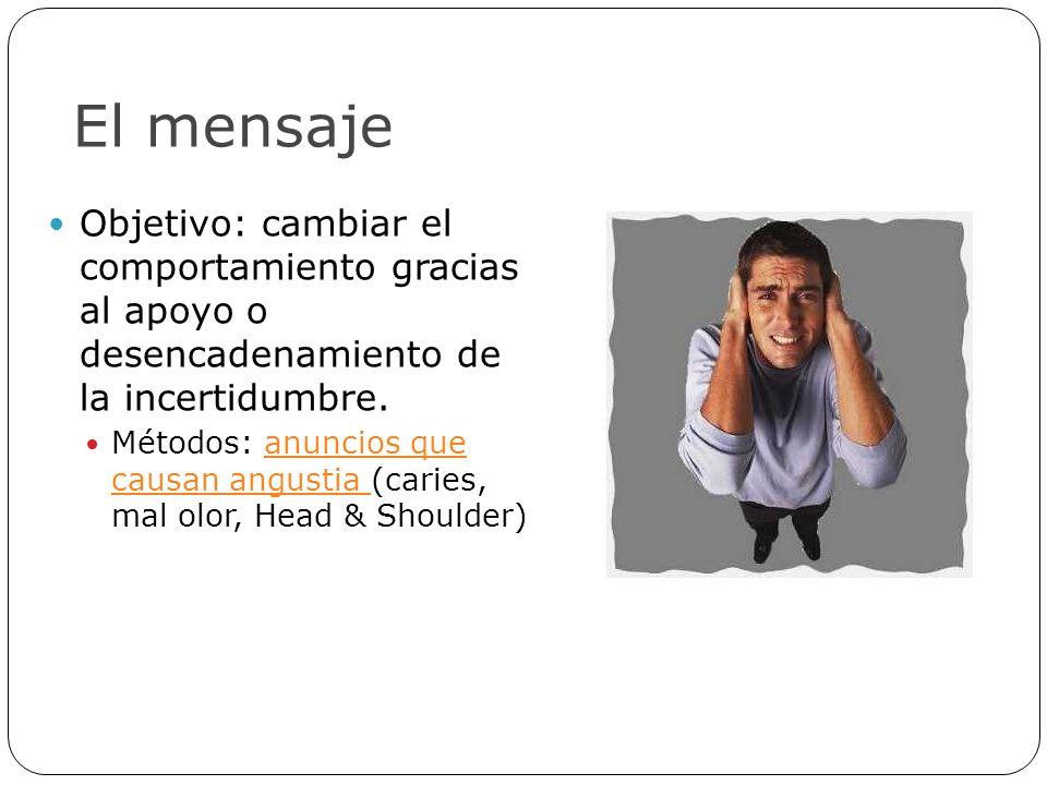 El mensaje Objetivo: cambiar el comportamiento gracias al apoyo o desencadenamiento de la incertidumbre.