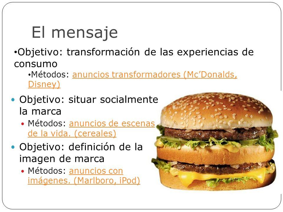 El mensaje Objetivo: transformación de las experiencias de consumo