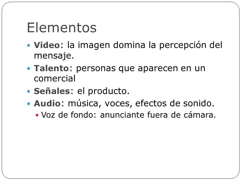 Elementos Video: la imagen domina la percepción del mensaje.