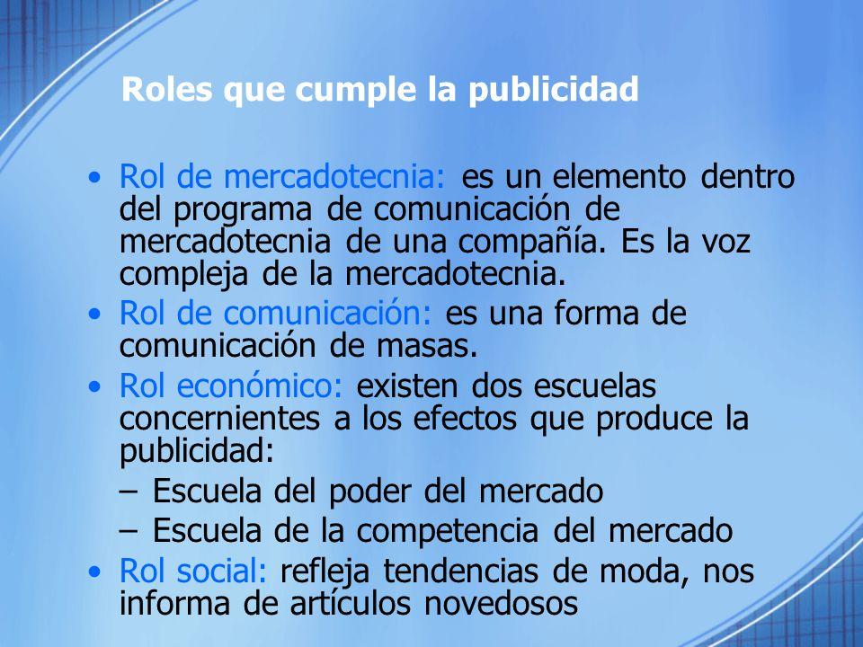 Roles que cumple la publicidad