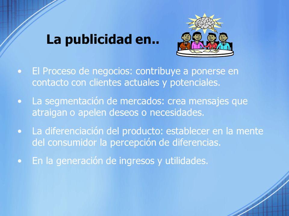 La publicidad en.. El Proceso de negocios: contribuye a ponerse en contacto con clientes actuales y potenciales.