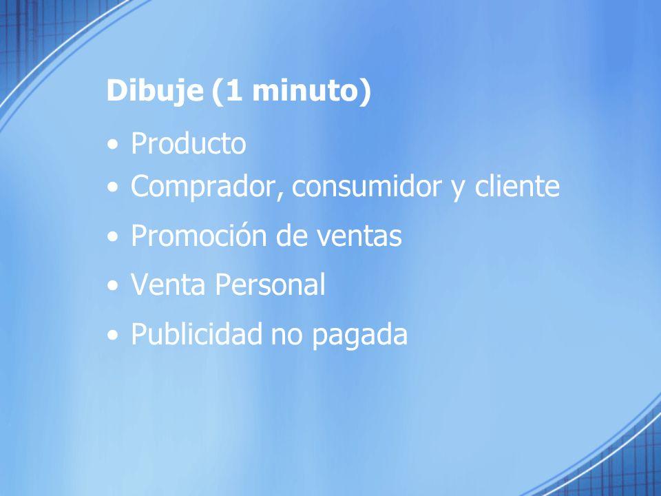 Dibuje (1 minuto) Producto. Comprador, consumidor y cliente. Promoción de ventas. Venta Personal.