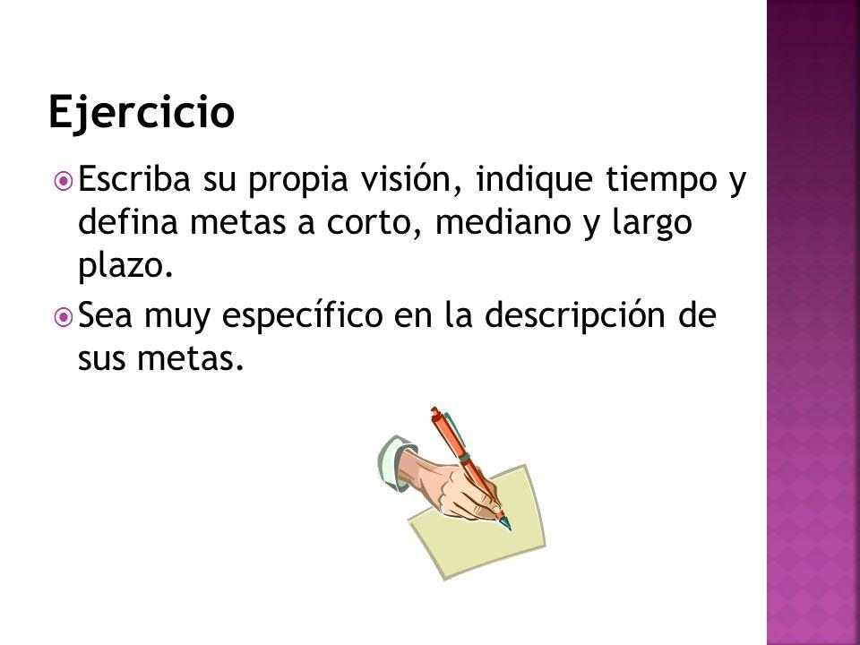 Ejercicio Escriba su propia visión, indique tiempo y defina metas a corto, mediano y largo plazo.