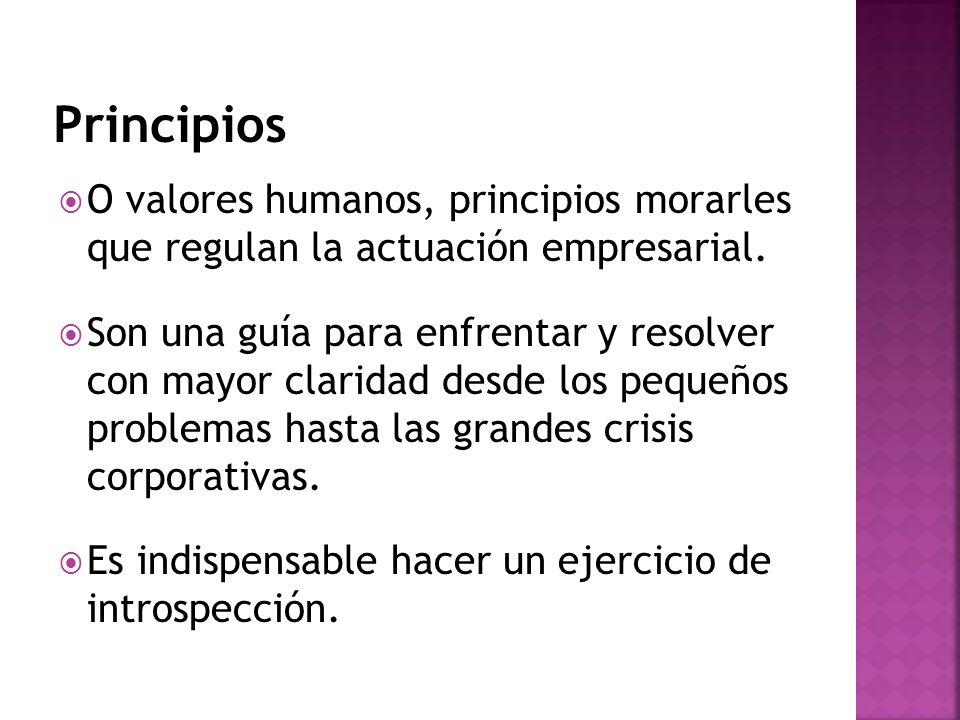 Principios O valores humanos, principios morarles que regulan la actuación empresarial.