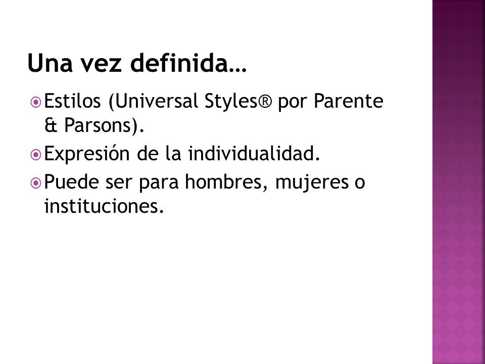 Una vez definida… Estilos (Universal Styles® por Parente & Parsons).
