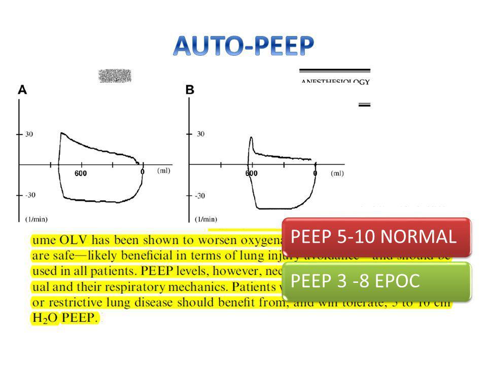 AUTO-PEEP PEEP 5-10 NORMAL PEEP 3 -8 EPOC