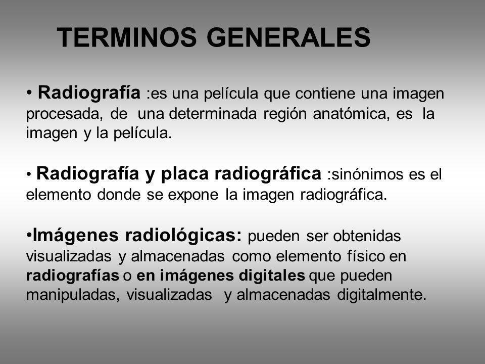 TERMINOS GENERALES Radiografía :es una película que contiene una imagen procesada, de una determinada región anatómica, es la imagen y la película.